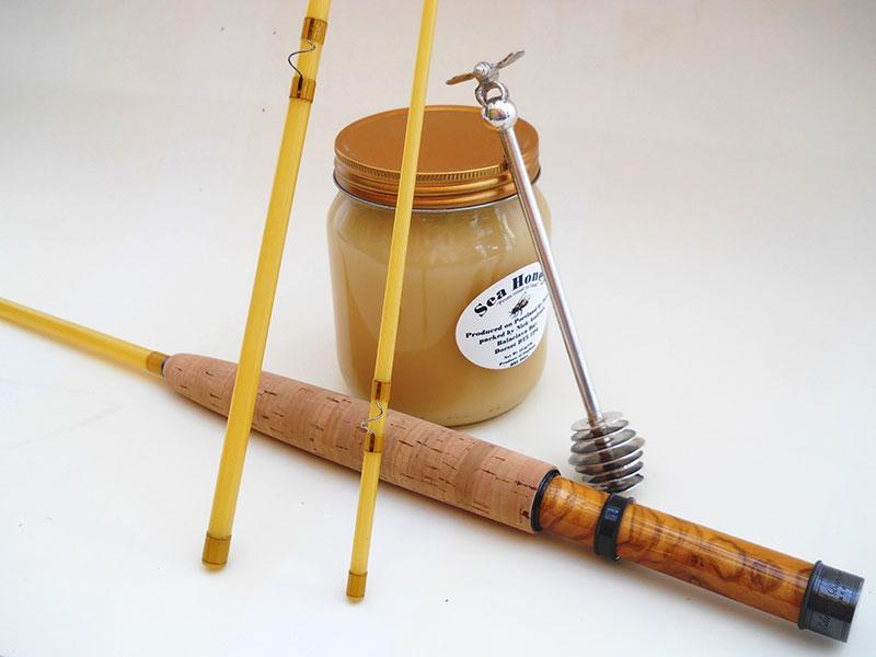 Barder Rod Co. 7' #3-weight 3-piece fibreglass fly rod.
